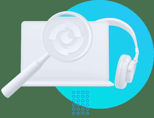 Computador com fone de ouvido e uma lupa