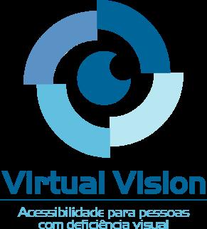 Logotipo Virtual Vision: imagem composta por variados tons de azul; cata-vento estilizado, simboliza de forma lúdica, alegria e entusiasmo; ao centro, uma esfera azul, sobreposta por outra menor na cor branca, desenha um olho que representa a acessibilidade proporcionada pelo software; abaixo, a inscrição: VIRTUAL VISION - Acessibilidade para Pessoas com Deficiência Visual