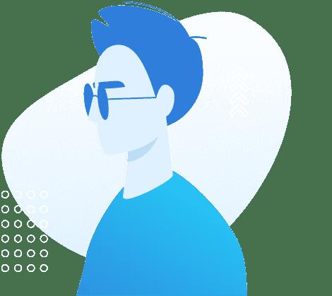 Ilustração de uma pessoa com deficiência visual
