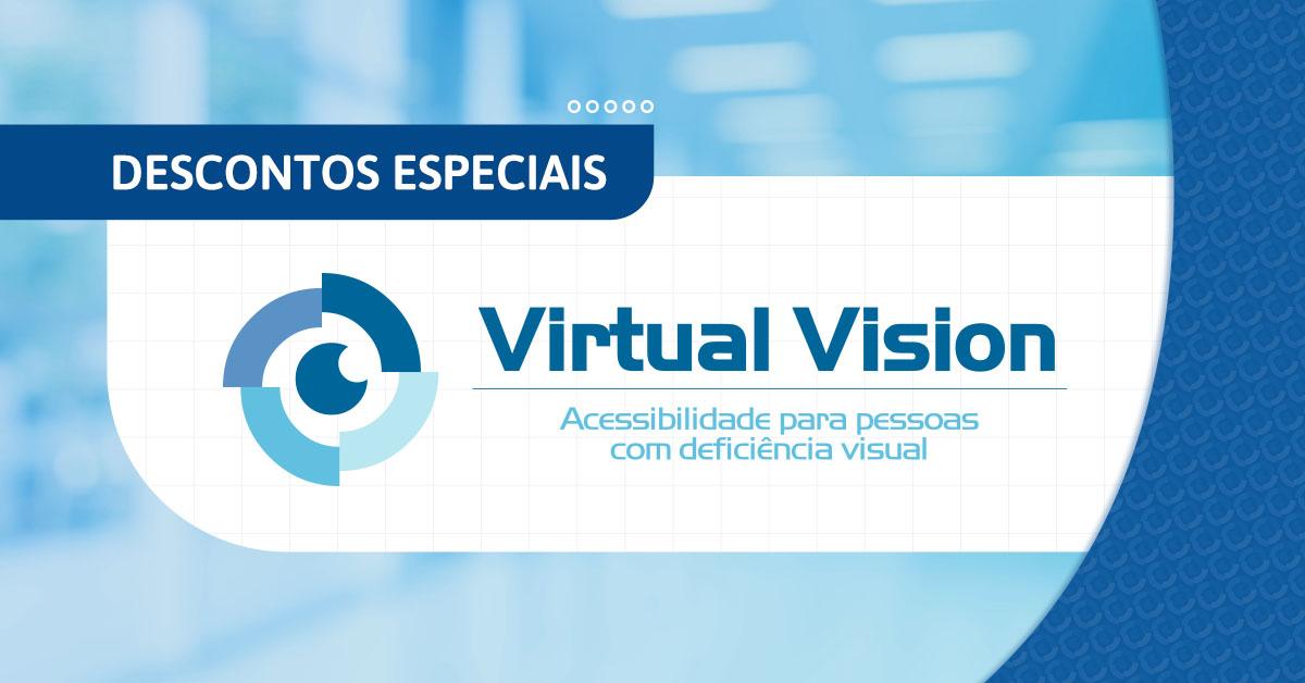 Fundo azul com o logo do Virtual Vision ao centro